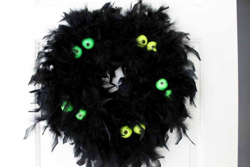 Glow in the Dark Eyes Halloween Wreath