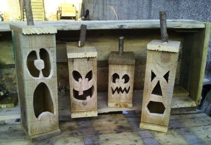 Pallet wood jack-o-lantern