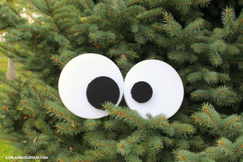 Halloween bush monster and spooky eyes