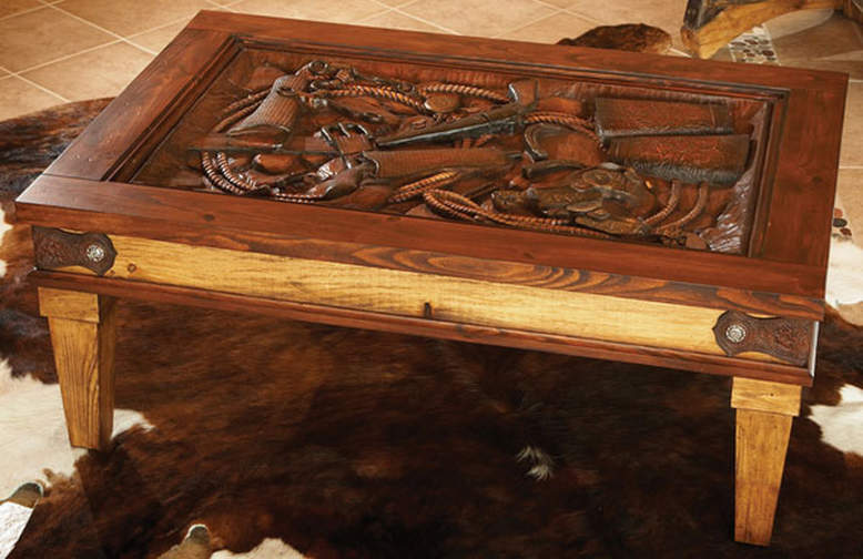 Hand carved Western coffee table with glass top