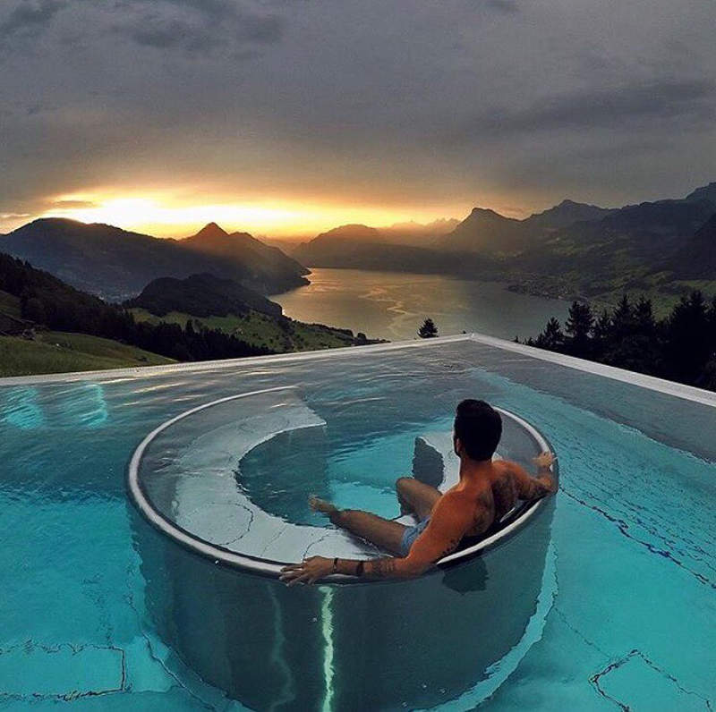 heated infinity pool at hotel villa honegg offers sweeping. Black Bedroom Furniture Sets. Home Design Ideas