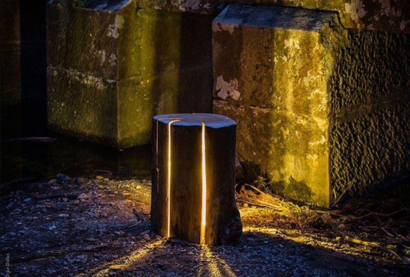 Illuminated Log stools glows in dark
