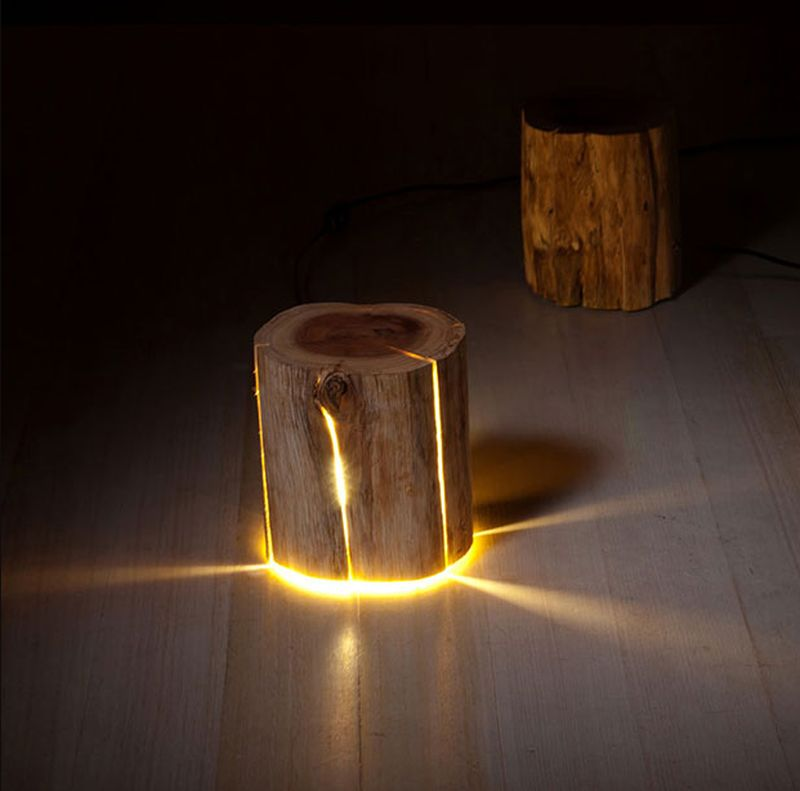 Illuminated Log stools and furniture