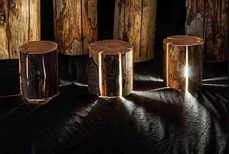 Illuminated tree Log stools