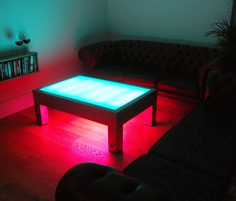 Illuminated steel coffee table