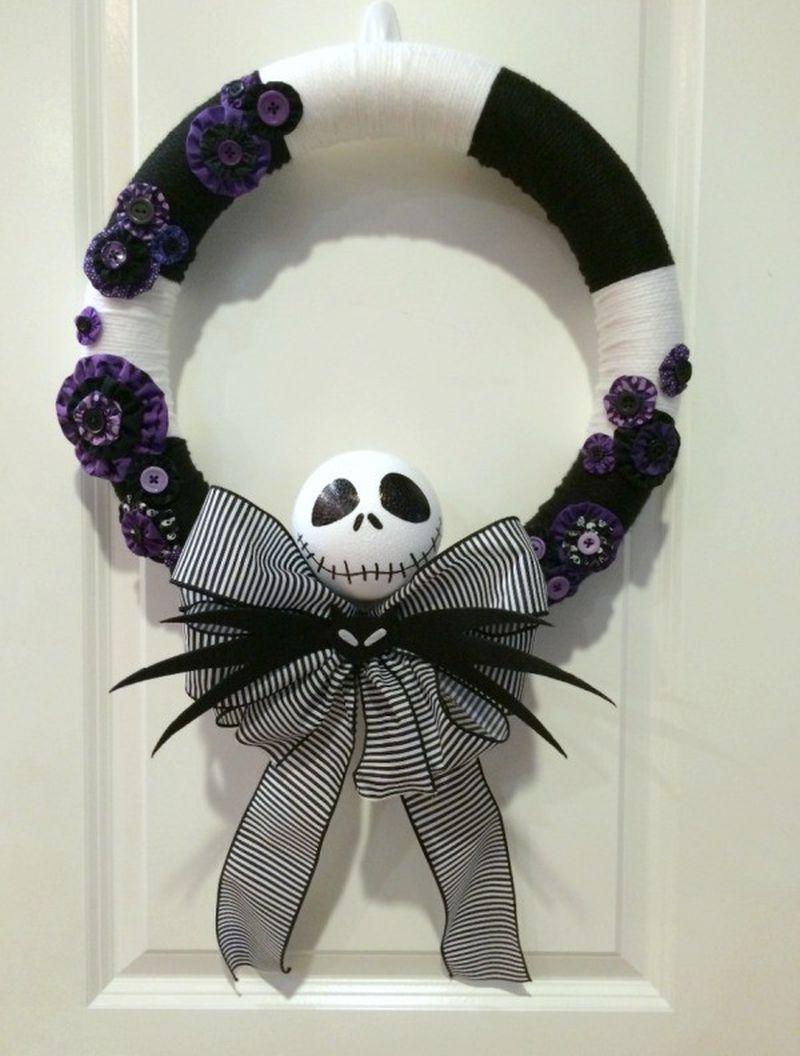 Jack Skellington Yarn Wreath