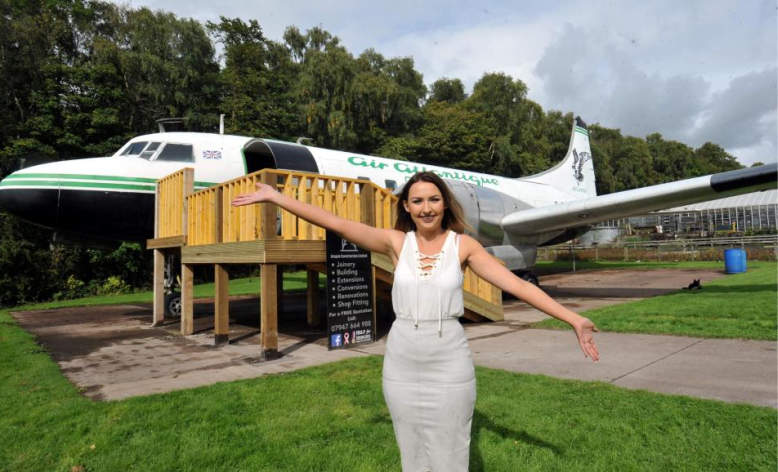 Makeup artist turns old airplane into luxury salon in her backyard