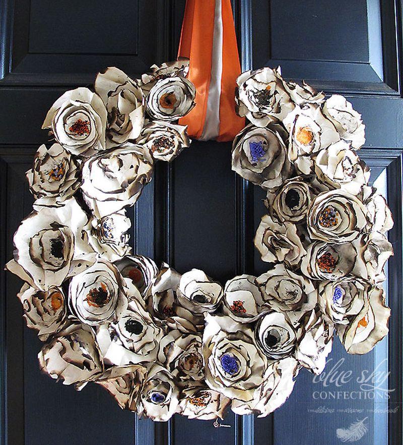 Paper Plates Flower Wreath
