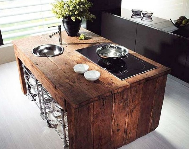 Reclaimed wood kitchen island-1