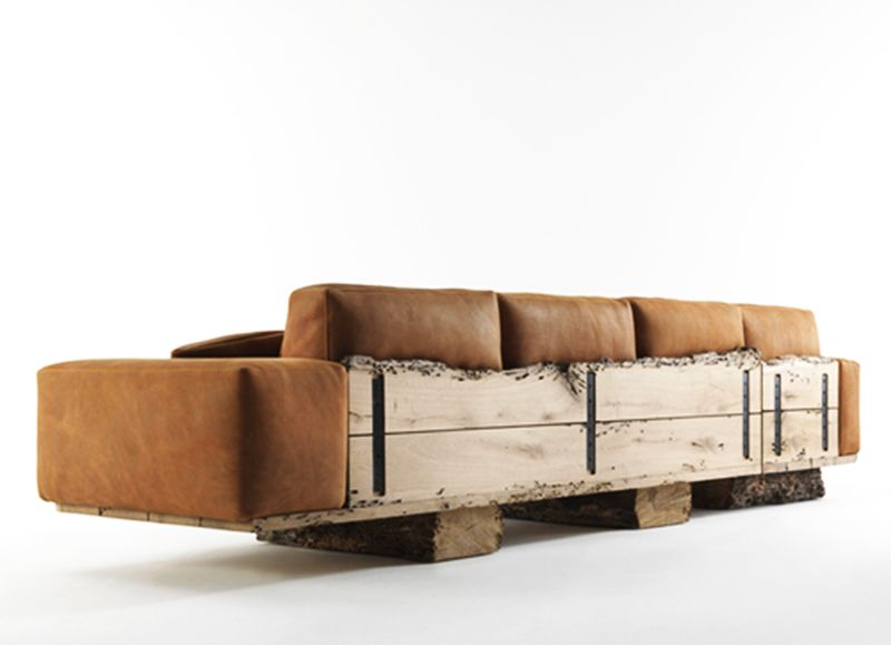 Reclaimed wood sofa for living room