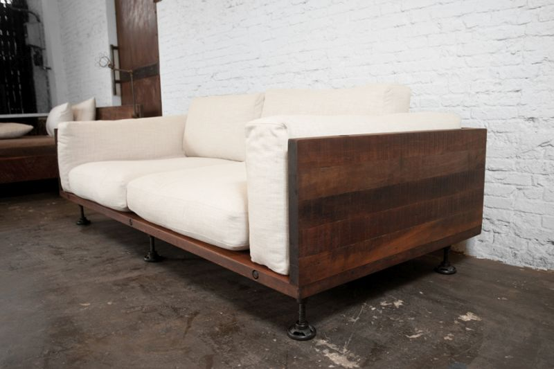 Reclaimed wood sofa living room