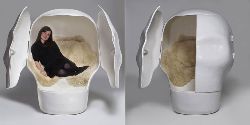 Sensory Deprivation skull cabin by Atelier Van Leishout