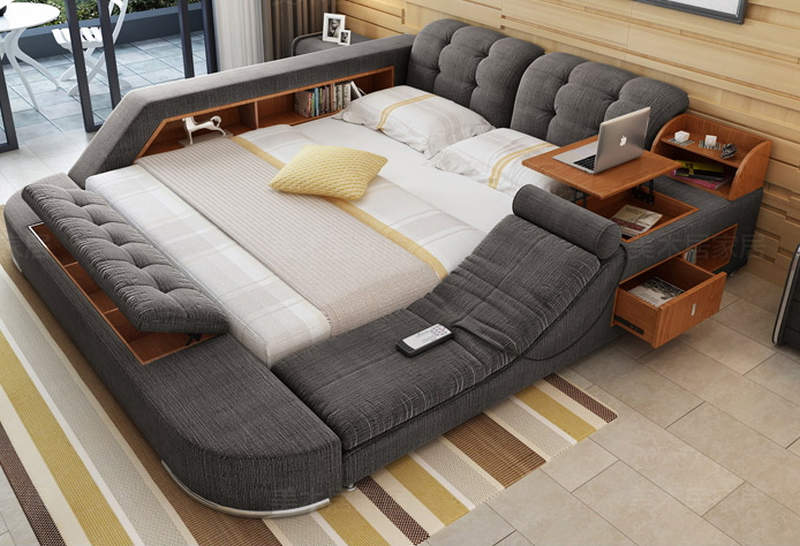 Tatami multimedia bed has built-in massage chair and pop-up table