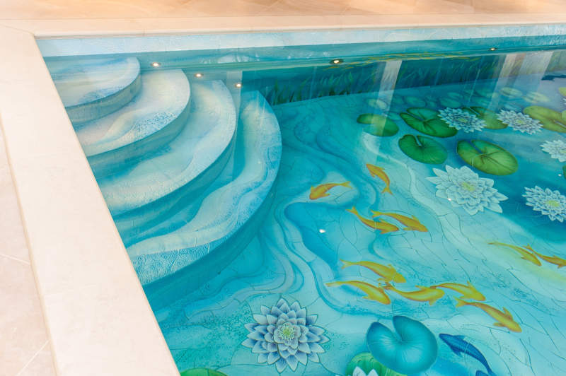 Indoor Swimming Pool Gets New Life With Water Lily Ceramic