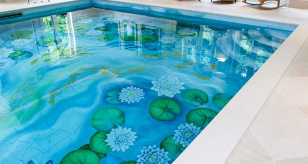 Indoor swimming pool gets new life with water lily ceramic murals - Public swimming pool design ...