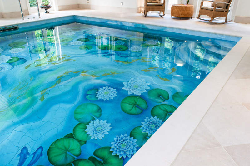 This indoor swimming pool gets new life with water-lily ceramic murals