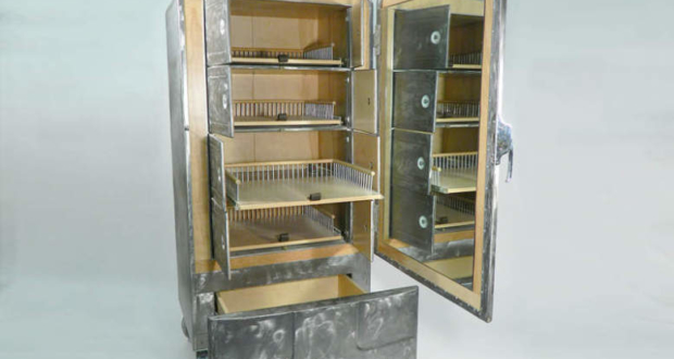 Upcycled fridge dressing cabinet by Rodney Allen Trice