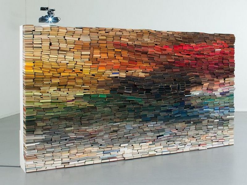 Wall structure made of books