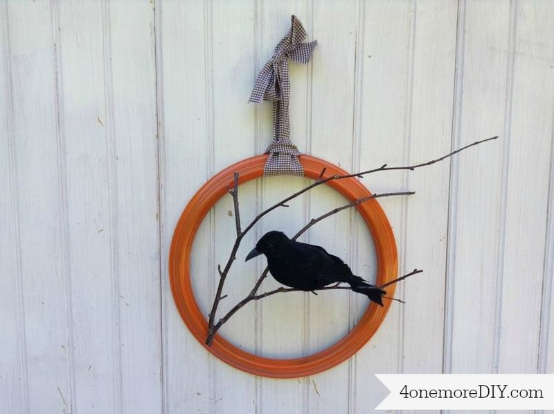 Wooden Raven Wreath
