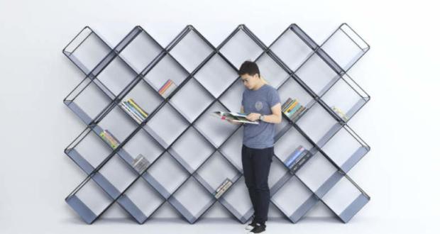 +X modular bookshelf holds your books diagonally