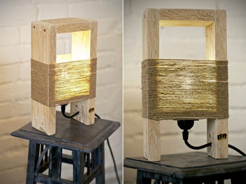 reclaimed wood lamp