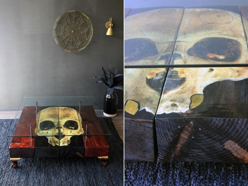Beam coffee table with skull artwork on top
