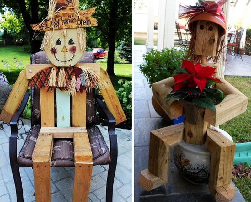 Pallet scarecrow in the yard