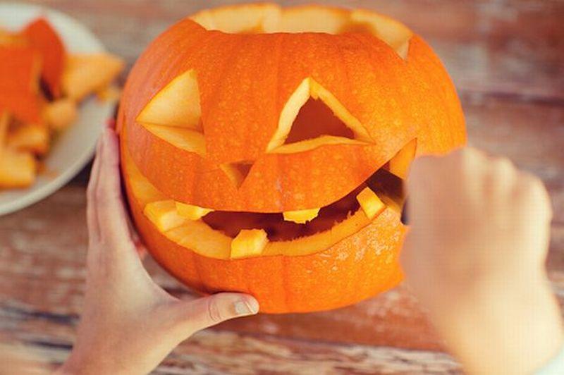 Carve Halloween pumpkin face
