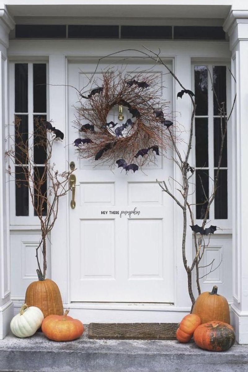 Front door decoration for Halloween - skeletons
