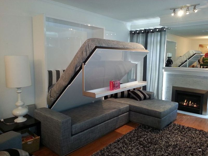 In-wall multi-functional bed