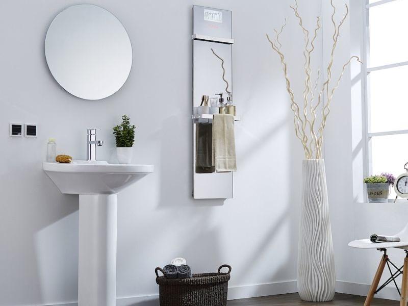 Infralia's multifunctional infrared mirror heater maximizes small bathroom