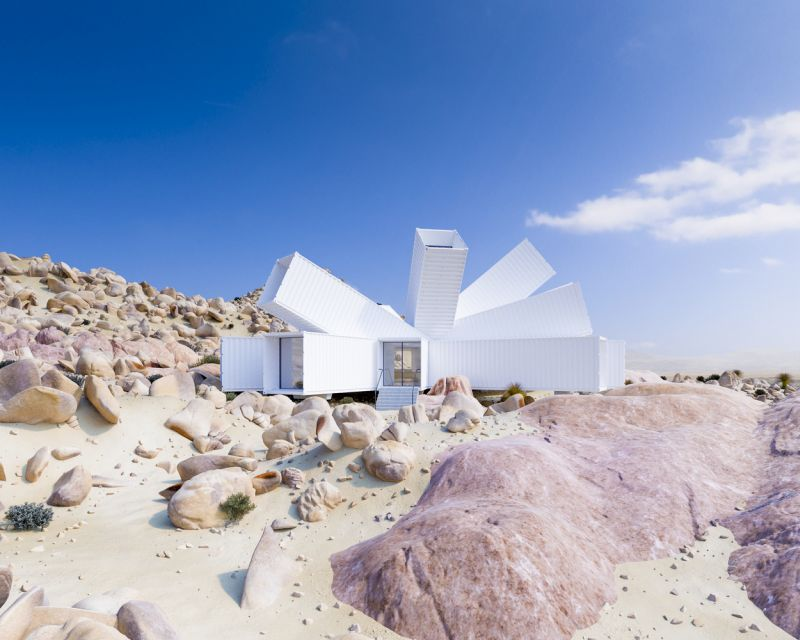 Joshua Tree Residence Shipping container home by Whitaker Studio looks like a starburst