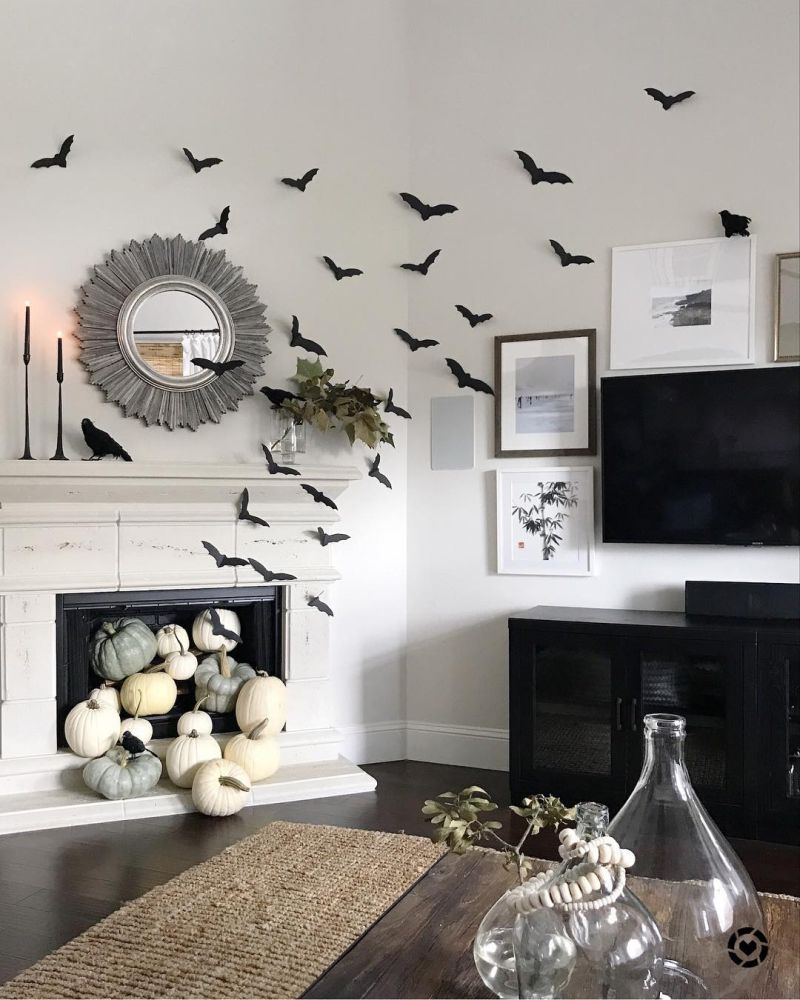 Living room Halloween decoration ideas - pumpkin patch