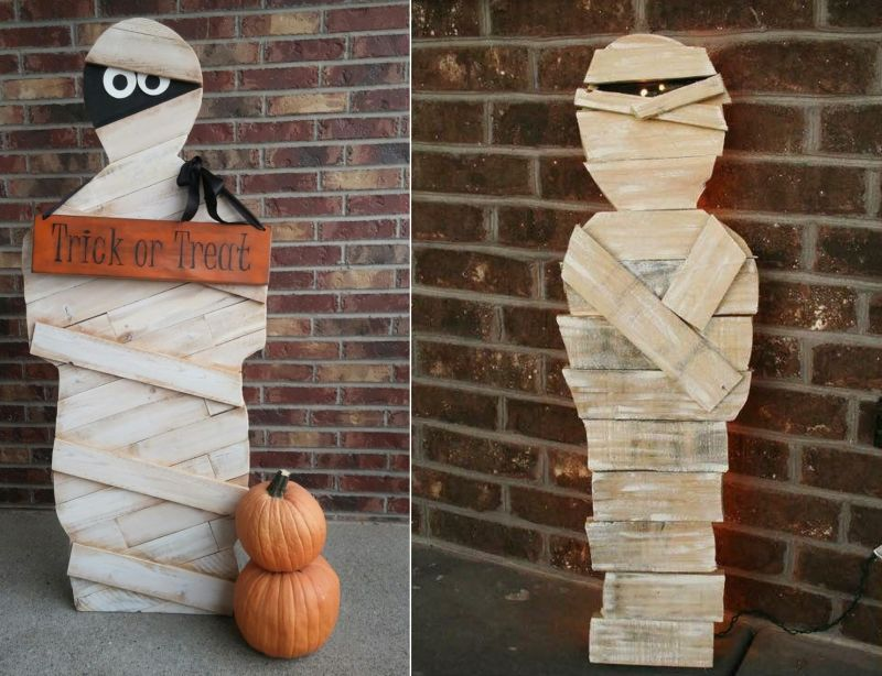 Pallet mummy and monster for Halloween decoration