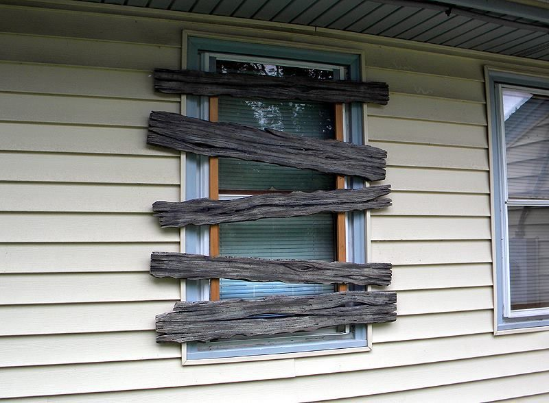 Pallet wood boarded up window decoration