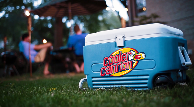 Portable beverage cooler that throws you a beer with the push of button