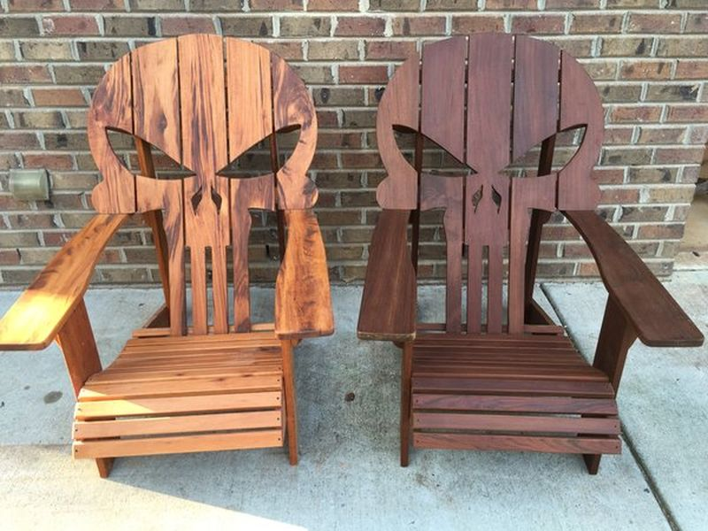 Punisher skull chair by Carolina Wood Designs