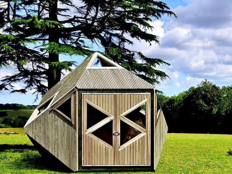 Tripod flat pack garden shed by woodwork designs for Flat pack outdoor kitchen