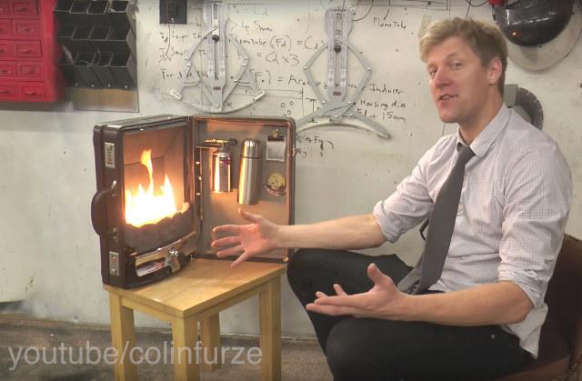 Briefcase fireplace