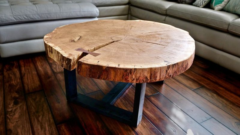 Trendy live edge furniture brings nature s beauty to your home for Tree slice coffee table