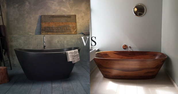 stone bathtub vs wood bathtub -bathtub materials