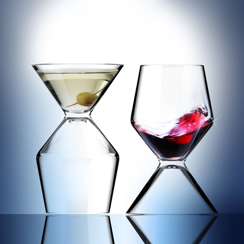 Asobu Vino Tini martini and wine glass
