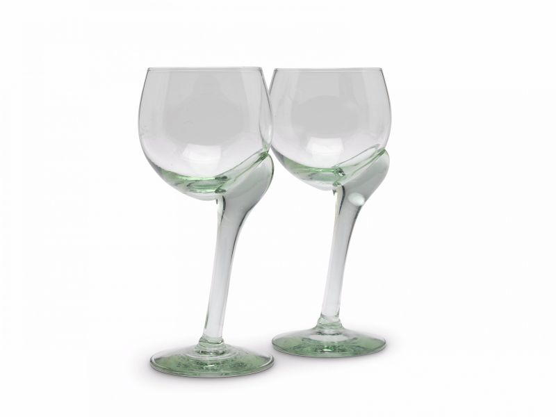 Asymmetrical recycled wine glass