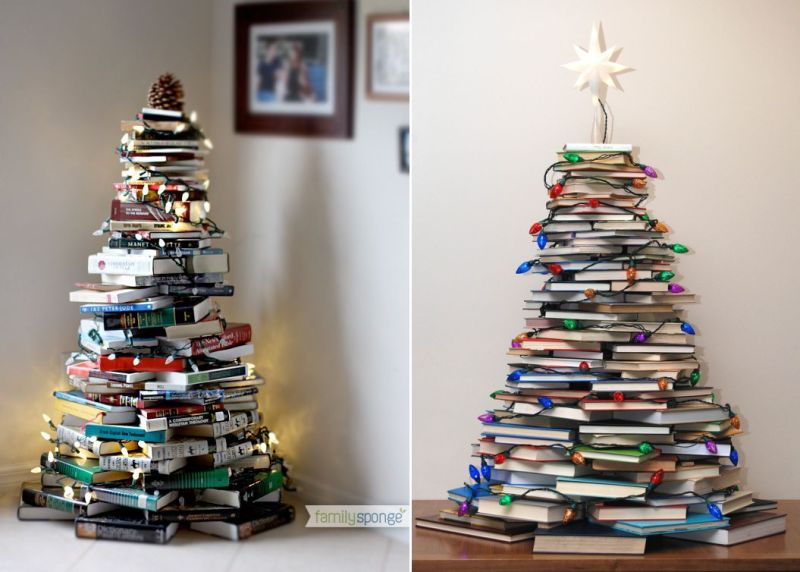 Christmas tree made by books
