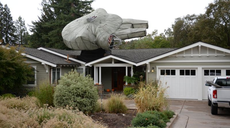 Colby Powell's Millennium Falcon replica is a bizarre holiday display