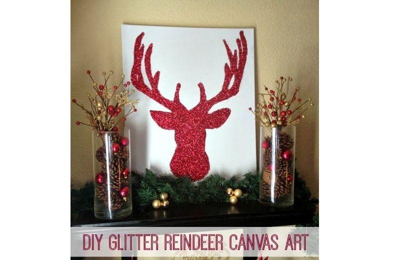 DIY Glitter reindeer canvas art Christmas decoration
