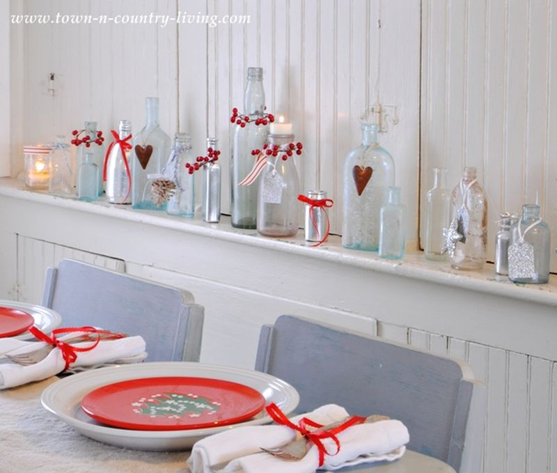 Decorate with jars, bottles and glassware for Christmas