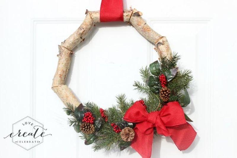 Birch wood Christmas wreath