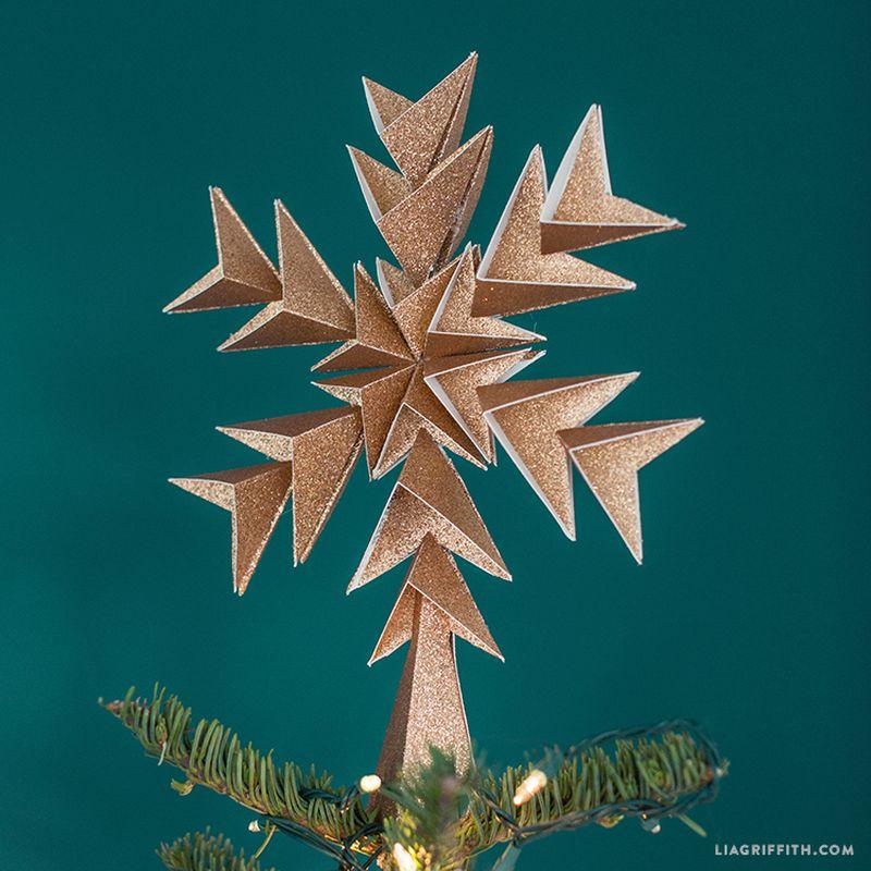 Glitter paper star tree topper
