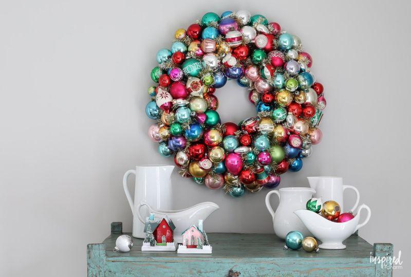 Vintage Christmas ornaments wreath
